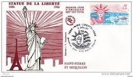 L4P155 SAINT PIERRE MIQUELON 1986 FDC Statue Liberté 2,50f Saint-Pierre 04 07 1986/envel.  Illus. - FDC