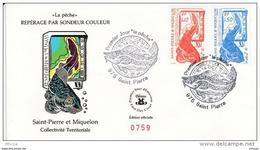 L4P171 SAINT PIERRE MIQUELON 1987 FDC La Pêche Repérage Par Sondeur 1,10, 1,50f Saint-Pierre 14 10 1987 /envel.  Illus. - FDC