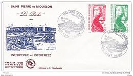 L4P199 SAINT PIERRE MIQUELON 1989 FDC La Pêche 1,40 1,70f Saint-Pierre 14 07 1989 /envel.  Illus. - FDC