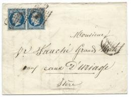 PAIRE N°14 BLEU NAPOLEON SUR LETTRE / LYON POUR URIAGE / 3 AOUT 1857 - 1849-1876: Klassik