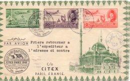 1949 Volo Speciale     Cairo--PARIS   Interessante Affrancatura- Franc - Egitto