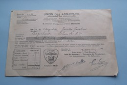 UNION Des ASSUREURS Bruxelles Reçu > Jacobs > Anno 1925 ( Zie Foto's ) ! - Bills Of Exchange