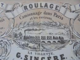 PARIS - 1853 -  LA VILLETTE Et 16 RUE MOGADOR - ROULAGE, CAMIONNAGE - G. SINCERE , VOIR SCAN - Sin Clasificación