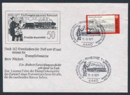 Deutschland Germany 1977 Brief Cover - 1835 - 1977 Dampflok Geht In Ruhestand - Betriebswerk Rheine - Treinen