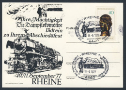 Deutschland Germany 1977 Karte Card - Dampflok Lädt Ein Zu Ihrem Abschiedsfest, Rheine - Betriebswerk Rheine - Treinen