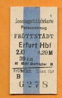BRD - Pappfahrkarte (Reichsbahn) : Fröttstadt - Erfurt ( Sonntagsrückfahrkarte ) - Trenes