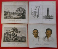 1817   Lot De 12 Gravures Chinoises Chinese Engravings Origine Bibliotheque Portative Des Voyages Atlas Barrow - Estampes & Gravures