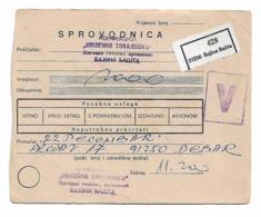 Red Cross + MONEY Send Banja Basta To Debar 1981 - Non Classificati