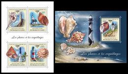 GUINEA 2018 - Lighthouses & Shells - Mi CV=40 €, 13250-3 + B2946 - Guinea (1958-...)