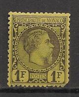 Monaco - 1885 - N°Yv. 9 - Charles III 1f Noir Sur Jaune - Neuf ** / MNH / Postfrisch - Neufs