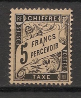 France - 1881 - Taxe TT N°Yv. 24 - Duval 5f Noir - Neuf (*) / MNG - 1859-1955 Used