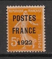 France - 1922 - Préoblitéré N°Yv. 36 - Semeuse 5c Orange - Neuf (*) / MNG - Preobliterados