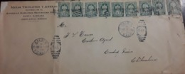 O) 1914 CIRCA - MEXICO, AMBULANTE, COAT OF ARMS SC 369 5c, MULTIPLE COVER - MINAS TECOLOTES AMERICAN SMELTERS, FROM CHI - Mexico
