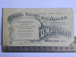 (03) Allier - Carte Commerciale - MOULINS - Grand Hôtel De L'Allier - Place D'Allier - D. Marconnet Propriétaire - Moulins