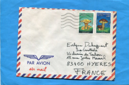 MARCOPHILIE-Lettre-Burkina Faso >Françe-cad  1990-2-stamps N° 822+5 Champignons-chanterelle +bollet - Burkina Faso (1984-...)