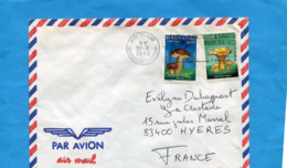 MARCOPHILIE-Lettre-Burkina Faso >Françe-cad Ouagadougou Aéroport 1990-2-stamps N° 822+5 Champignons-chanterelle +bollet - Burkina Faso (1984-...)