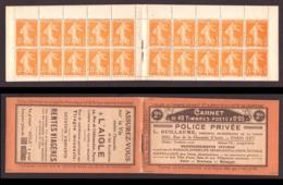 FRANCE 1921-22 SEMEUSE GRASSE YT N° 158a – Carnet 158-C2 5c Orange T.2A Carnet Avec Pub Privée - 1906-38 Semeuse Camée