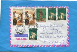 MARCOPHILIE-Lettre-Burkina Faso >Françe-cad Ouagadougou Aéroport 1991-6-stamps N° 823 Champignons-+826 Salon Artisanat - Burkina Faso (1984-...)