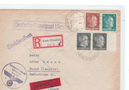 """Deutsche Dienstpost Ukraine Einschreiben Brief Von Luzk Nach Forst Ankunftsstempel  Vermerk """"durch Eilboten"""" Getilgt - Briefe U. Dokumente"""