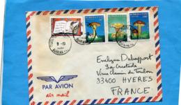MARCOPHILIE-Lettre-Burkina Faso >Françe-cad Aéroport 1991-4-stamps N° 822+24+25 Champignons-+820 Alphabétisation - Burkina Faso (1984-...)