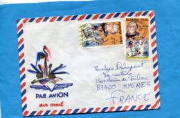 MARCOPHILIE-Lettre-Burkina Faso >Françe-cad1990-2-stamps N° 738 R Follereau-la Lèpre - Burkina Faso (1984-...)
