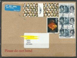 GREAT BRITAIN 2010 Air Mail Cover To Estonia Queen Elizabeth II Etc Many Nice Stamps - 1952-.... (Elizabeth II)
