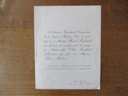 BAZAS LE 27 SEPTEMBRE 1954 LE GENERAL FOUCHARD ET Mme VOUS FONT PART DU MARIAGE DE LEUR FILLE ODILE AVEC PIERRE JARDON - Mariage