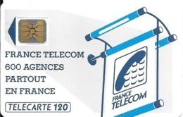 CARTE-PUBLIC-600 AGENCES-120U-Te02A.510-SC4on-OFFSET-Trou 6-5 Ge N°20909 -0 Envers Dernier-UTILISE-TBE-RARE - Frankrijk