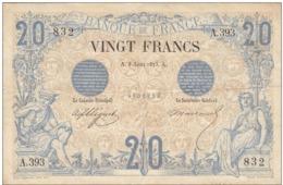 TRES RARE Billet 20 F Noir Du 5 Août 1875 Alph. A.393 Bel état - 1871-1952 Gedurende De XXste In Omloop