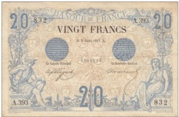 TRES RARE Billet 20 F Noir Du 5 Août 1875 Alph. A.393 Bel état - 1871-1952 Antichi Franchi Circolanti Nel XX Secolo