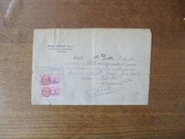 FOURMIES EDGARD LEGRAND & Cie FILATURE & RETORDAGE RECU DU 2 JUILLET 1946 TIMBRES FISCAUX - France