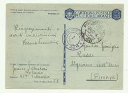 CARTOLINA FORZE ARMATE - POSTA MILITARE 68 A RIGNANO SULL'ARNO 1942 FG - Weltkrieg 1939-45