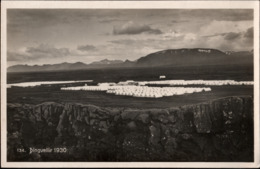! Alte Ansichtskarte Island, Iceland, Bingvellir, Zeltlager, 1930 - Island