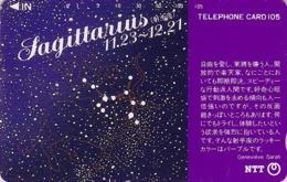 Télécarte Japon / NTT 291-095 -  ZODIAQUE Série G. Sarah / SAGITTAIRE - ZODIAC HOROSCOPE Japan Phonecard - 1060 - Japan