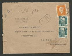 CALVADOS / Recommandé Provisoire AR De VILLERVILLE 15.01.1945 / Dulac & Gandon - Marcophilie (Lettres)