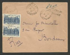 GIRONDE / Recommandé Provisoire CADILLAC 16.07.1947 / Paire 10F Luxembourg - Marcophilie (Lettres)