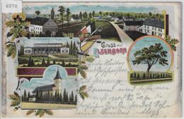 Gruss Aus Elsenborn - Total-Ansicht, Kirche, Trousch-Baum, Offizier-Casino - Chromo Lithographie - Eupen Und Malmedy