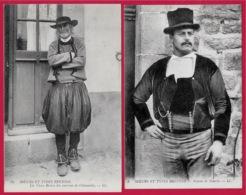 CPA MOEURS ET TYPES BRETONS LL - (Lot De 2) 29 Chateaulin - 56 Gourin ** Bretagne Costumes Hommes - Bretagne