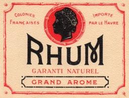 ETIQUETTE RHUM GARANTI NATUREL DES COLONIES FRANCAISES - Rhum