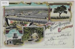 Gruss Vom Truppen-Übungsplatz Elsenborn - Totalansicht, Wasserturm, Truschbaum - Chromo Lithographie 1902 - Eupen Und Malmedy
