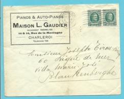 "194 Op Brief Stempel CHARLEROY , Hoofding "" PIANOS & AUTO-PIANOS MAISON L.GAUDIER"" - 1922-1927 Houyoux"