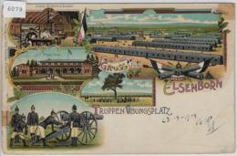 Gruss Vom Truppen-Übungsplatz Elsenborn - Totalansicht, Wellblech Baraken, Truschbaum - Chromo Lithographie 1908 - Eupen Und Malmedy