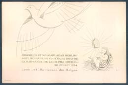 Faire-part De Jean Berliet Fils De Marius De La Naissance De Michel 1934 Boulevard Des Belges Stern Graveur 10 X 16 - Faire-part
