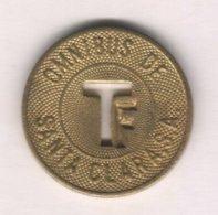 Caribe  / Cuba TOKEN OMNIBUS DE SANTA CLARA .S.A. T Letter F Brass 23 Mm - Tokens & Medals