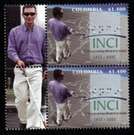 A102- COLOMBIA- KOLUMBIEN- 2008 - MNH - 50 YEARS OF THE NATIONAL INSTITUTE FOR THE BLIND. BRAILLE PRINTING- MAN LABEL - Colombie