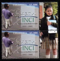 A104- COLOMBIA- KOLUMBIEN- 2008 - MNH - 50 YEARS OF THE NATIONAL INSTITUTE FOR THE BLIND. BRAILLE PRINTING- GIRL LABEL - Colombie