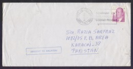MISSENT MAIL COVER - Postal History SPAIN To KARACHI, But Going To MALAYSIA, Used 24.5.2002 - 2001-10 Storia Postale