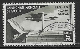 Italy Scott # C64 Used Plane Over Stadium, 1934, CV$425.00 - 1900-44 Vittorio Emanuele III