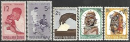Papua  New Guinea  1964  Sc#179-80, 183-4, 187  5 Diff Used  2016 Scott Value $3.15 - Papua-Neuguinea