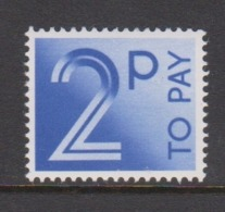 Great Britain SG D91 1982 Postage Due 2p Bright Blue ,mint Never Hinged - 1952-.... (Elizabeth II)